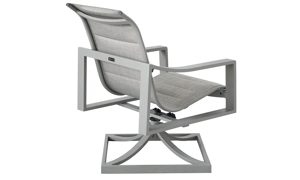 All-weather 38-inch swivel chair with aluminum frame and fabric sling seating in powder grey finish - Back Angle View