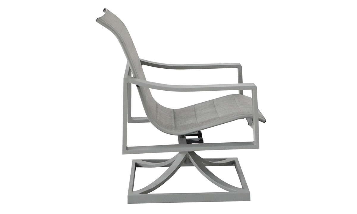 All-weather 38-inch swivel chair with aluminum frame and fabric sling seating in powder grey finish - Side View