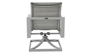 All-weather 38-inch swivel chair with aluminum frame and fabric sling seating in powder grey finish - Back View