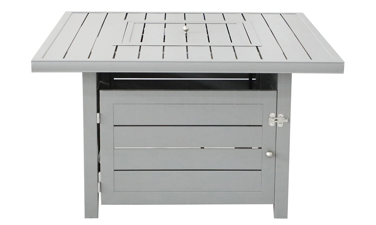 All weather 42-inch square plank-style fire pit in weathered grey finish - closed - front view