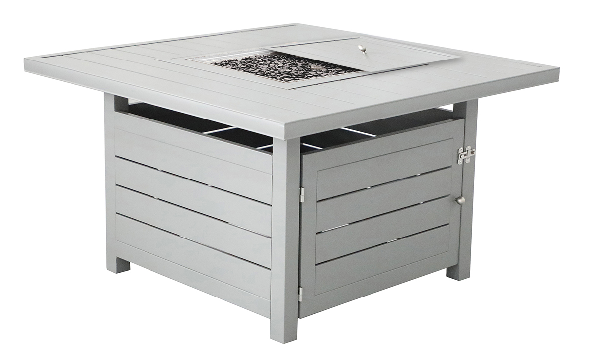 All weather 42-inch square plank-style fire pit in weathered grey finish - opem