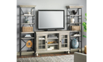 """Transitional 3-piece entertainment wall unit with 60-inch console and two 79.5"""" tall storage piers in weathered wood finish"""