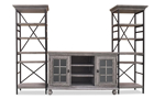 """3-piece contemporary entertainment unit with 60-inch wide console and two 79.5"""" tall storage shelves in weathered wood finish  for wall"""