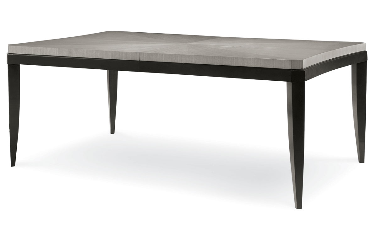 74-inch formal dining table with platinum top and black base with tapered legs.