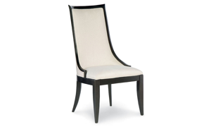 Formal dining chair with sloped back in ivory fabric finish and black tapered legs - Front View