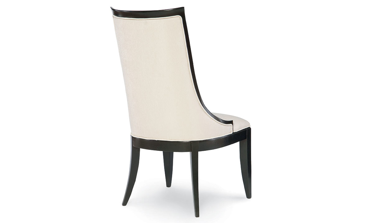 Formal dining chair with sloped back in ivory fabric finish and black tapered legs - Back View