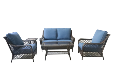 5-piece outdoor patio set with loveseat, two chairs, cocktail table and side table set with blue quick-dry cushions and wicker resin frame.