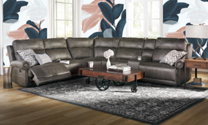 Pierson Power Reclining Sectional with USB ports, Storage Console and Extra Wide Seats in Brown Microfiber Fabric