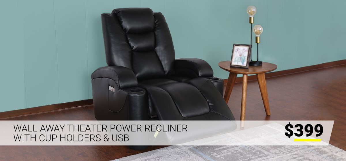 Wall Away Power Recliner with Cup Holders & USB $399