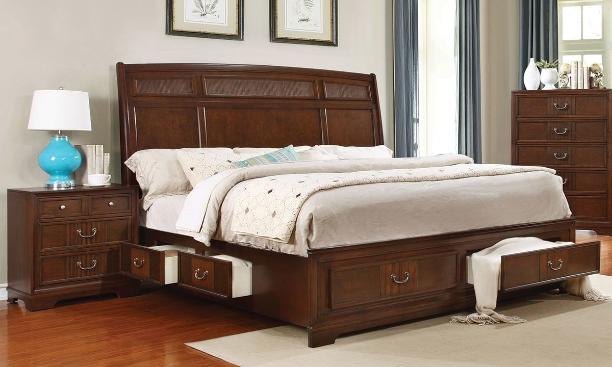 Picture of: Parkhurst Cherry Storage Sleigh Beds The Dump Luxe Furniture Outlet