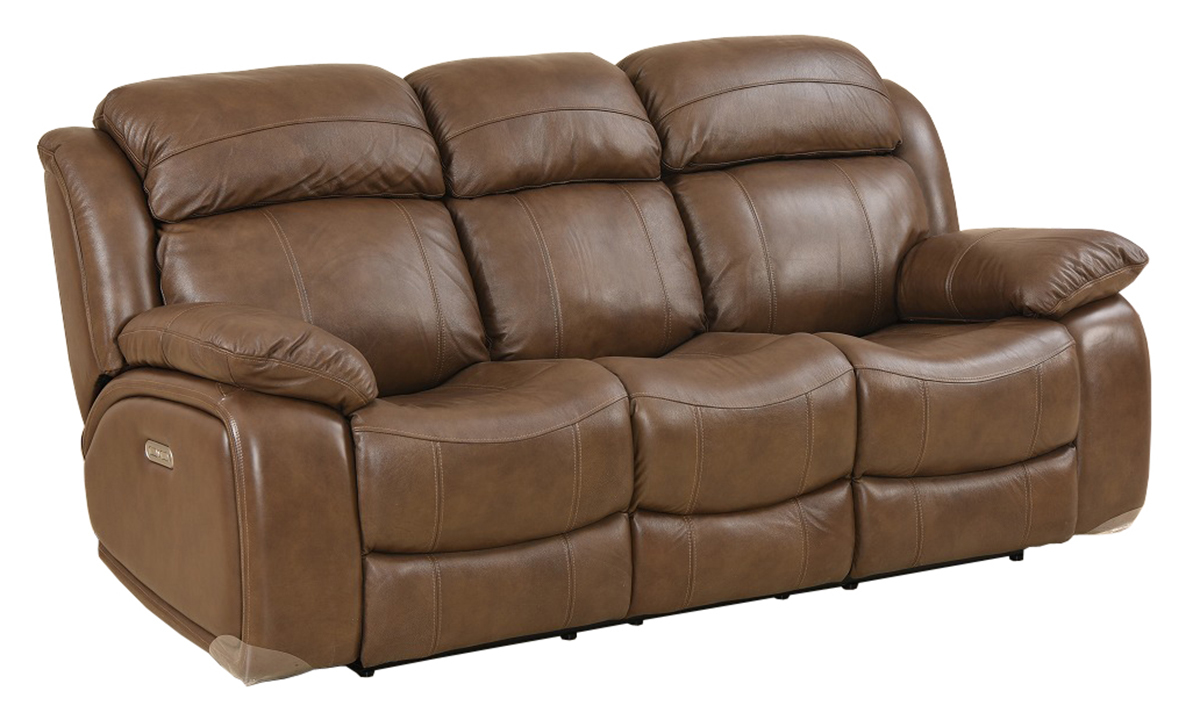Era Nouveau Brown Leather Power Reclining Sofa