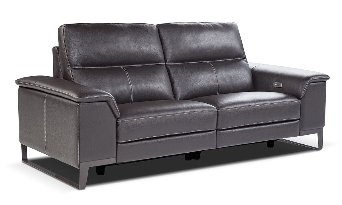 Nicoletti Ruben Grey Power Reclining Leather Sofa