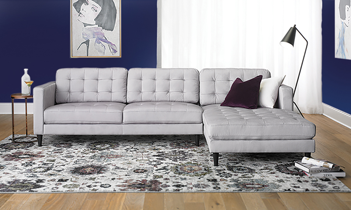 Contemporary Tufted Sofa With Oversized