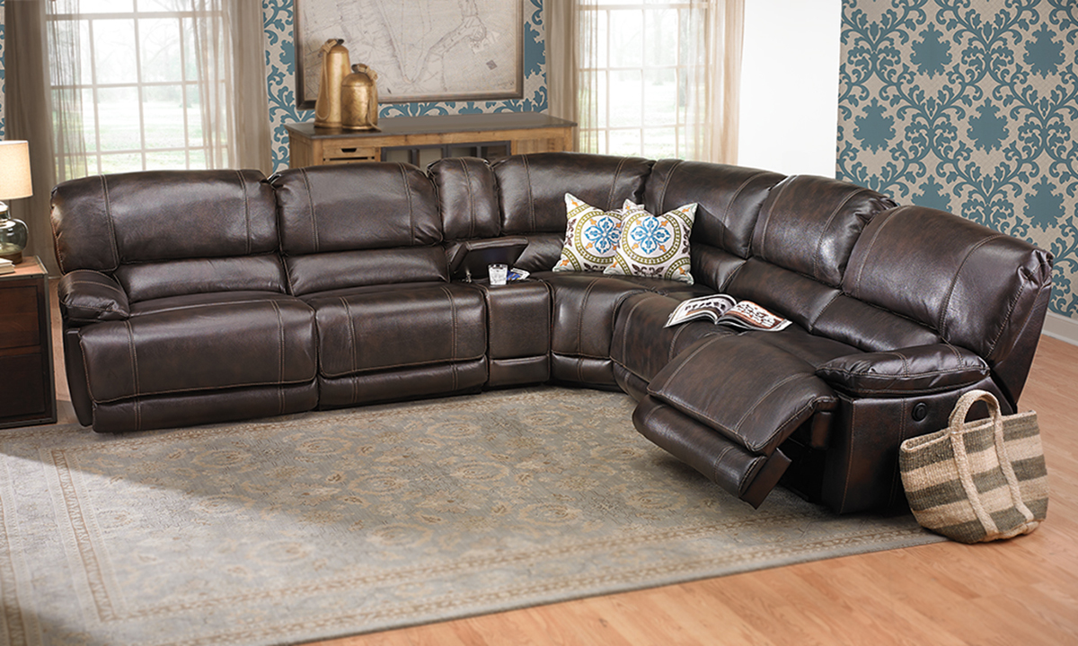 Jamison Power Reclining Storage Sectional in Brown