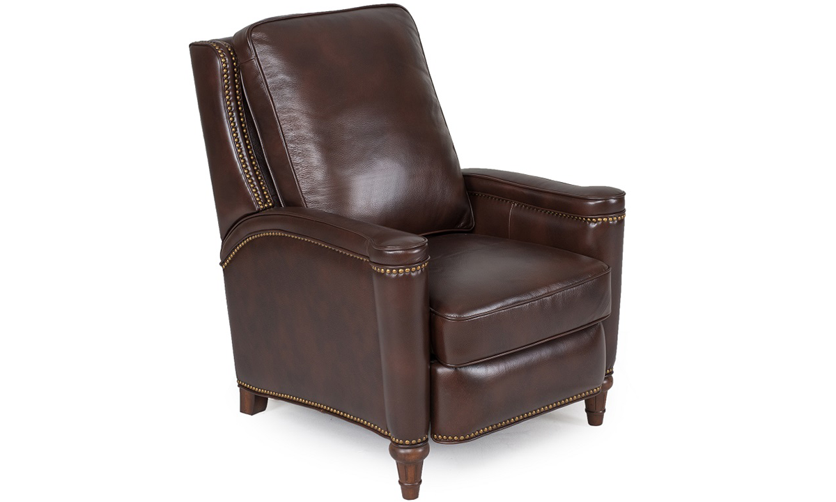 Classic accent chair in dark chocolate brown leather with nailhead trim