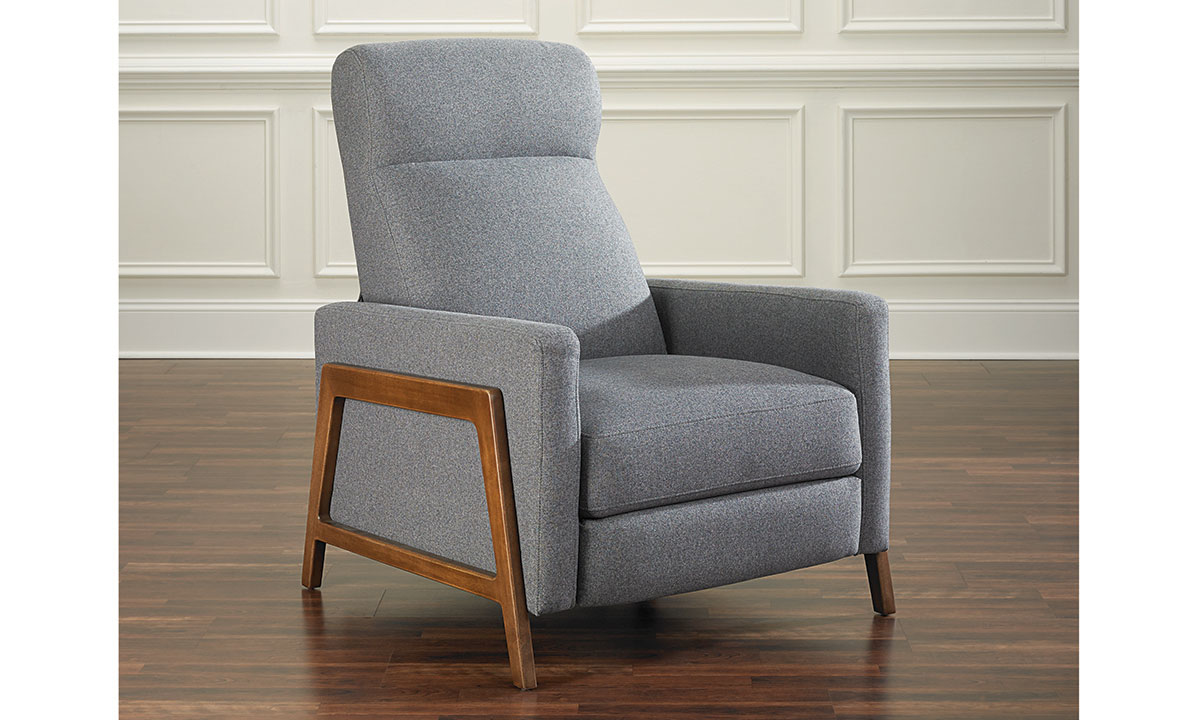 Modern accent chair with manual recliner in gray top-grain leather with exposed wood frame