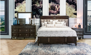 Valley View Walnut Upholstered Panel Bedrooms
