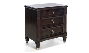 Valley View Walnut 3-Drawer Nightstand