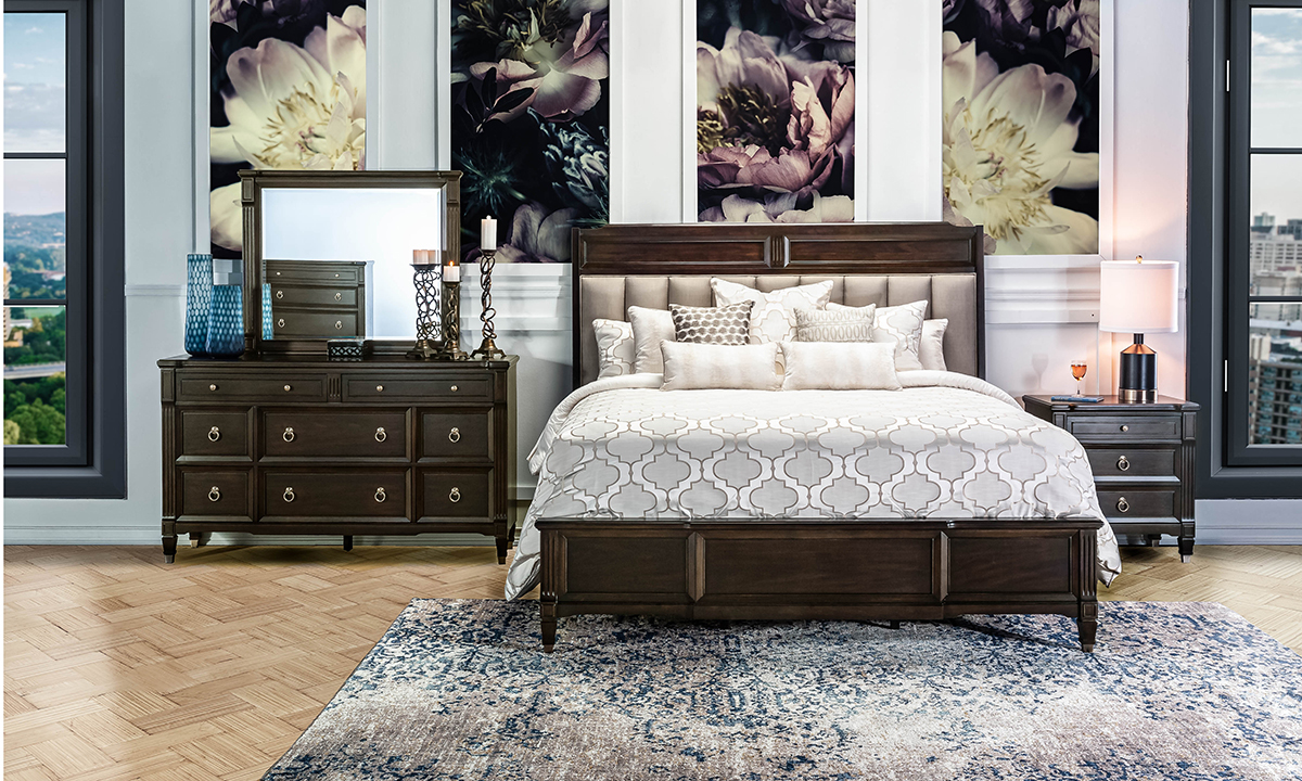 Valley View Walnut Upholstered Panel Beds