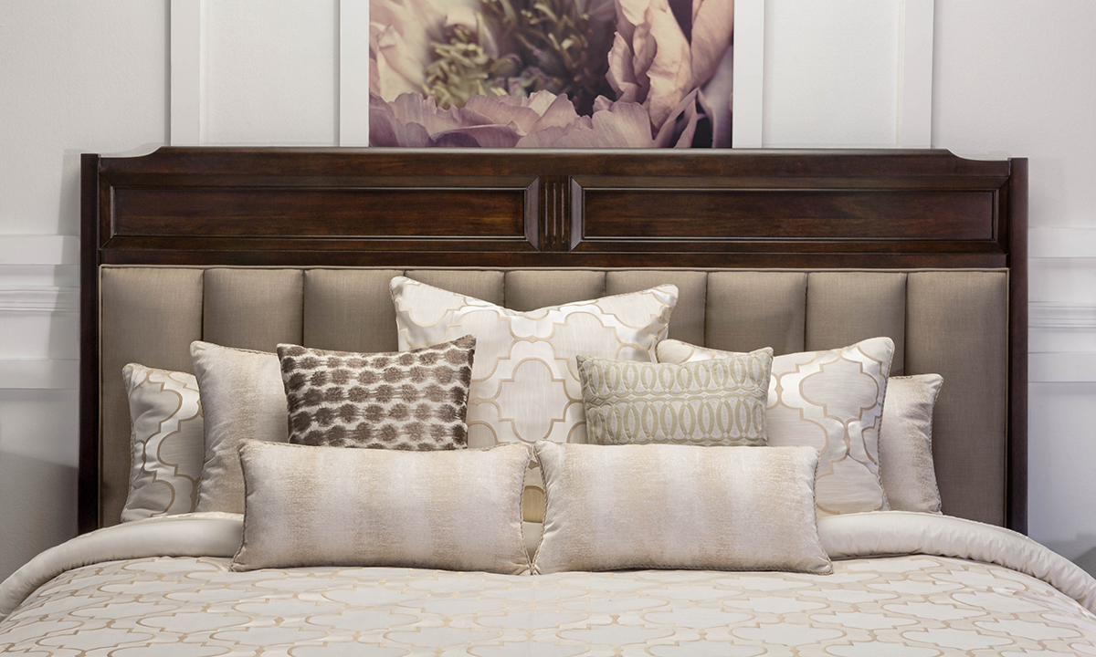 Valley View Walnut Upholstered Queen Panel Bed