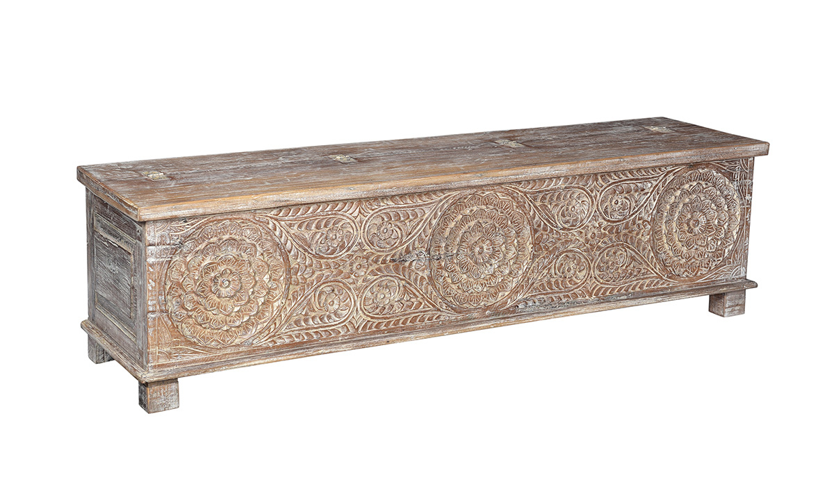 Picture of Pink City Kabir Wood Storage Bench