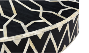 Pink City Raj Black and White Bone Inlay Cocktail Table