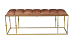 Pink City Nayva Iron and Leather Bench
