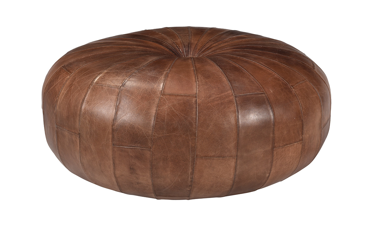 Pink City Rohan Leather Pouf