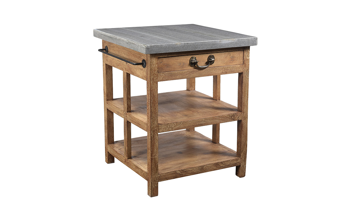 Pink City Keya Wood and Marble Kitchen Island