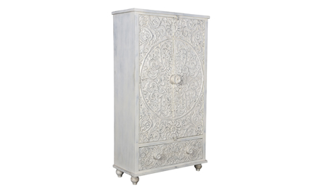 Pink City Rishaan White Carved Wood Cabinet