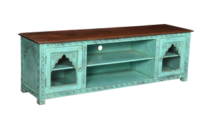 Pink City Mishka Green Carved Wood Entertainment Console