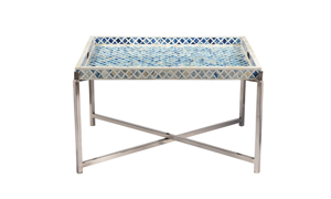 Pink City Amoli Blue Large Bone Inlay Tray Table
