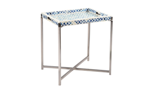 Pink City Amoli Blue Medium Bone Inlay Tray Table