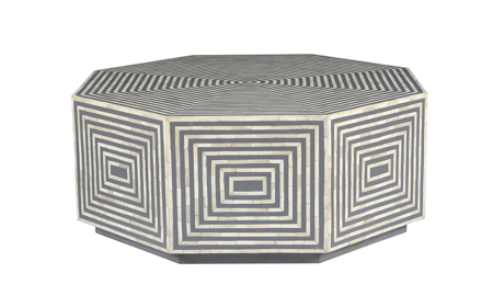 Pink City Taara Bone Inlay Cocktail Table