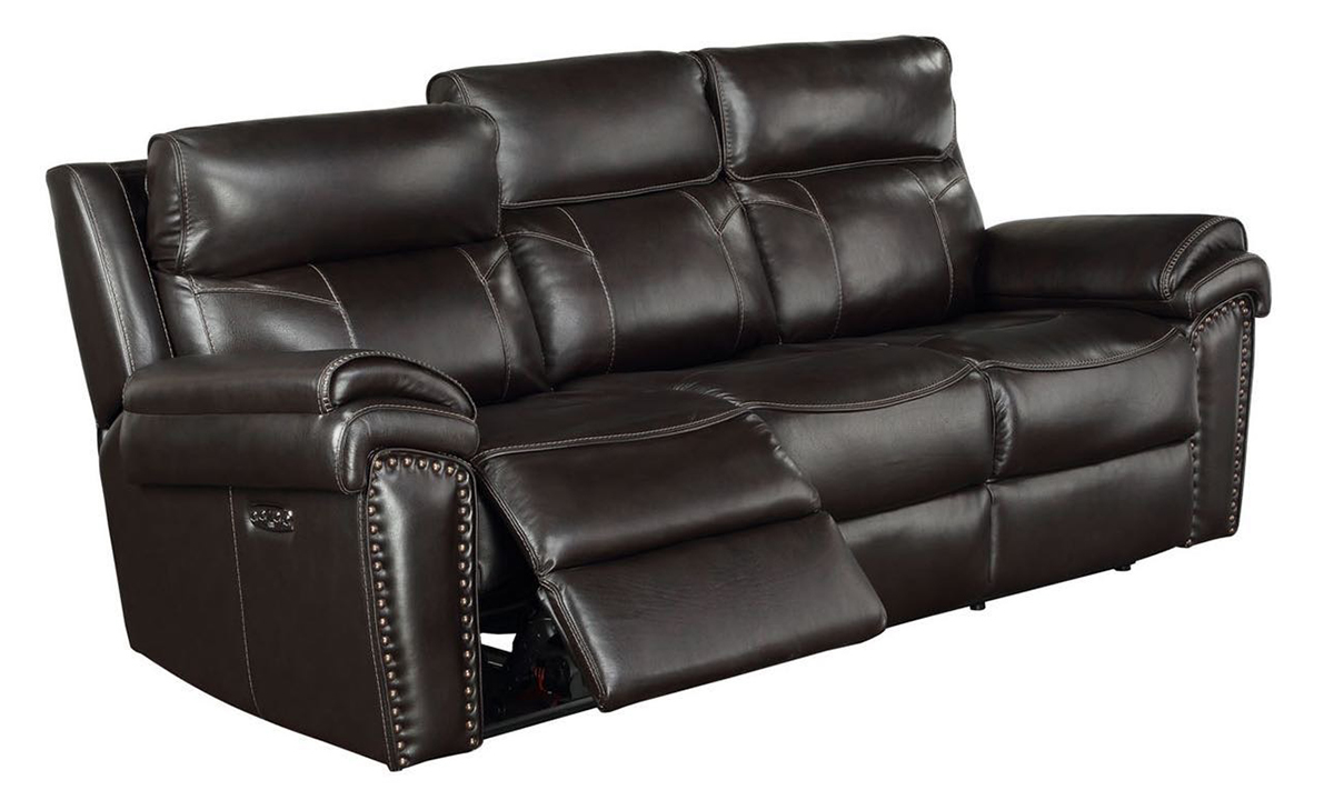 Top-Grain Leather Power Reclining Sofa with Headrests