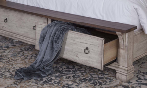 Belmont Solid Wood Storage Bed Antique Linen