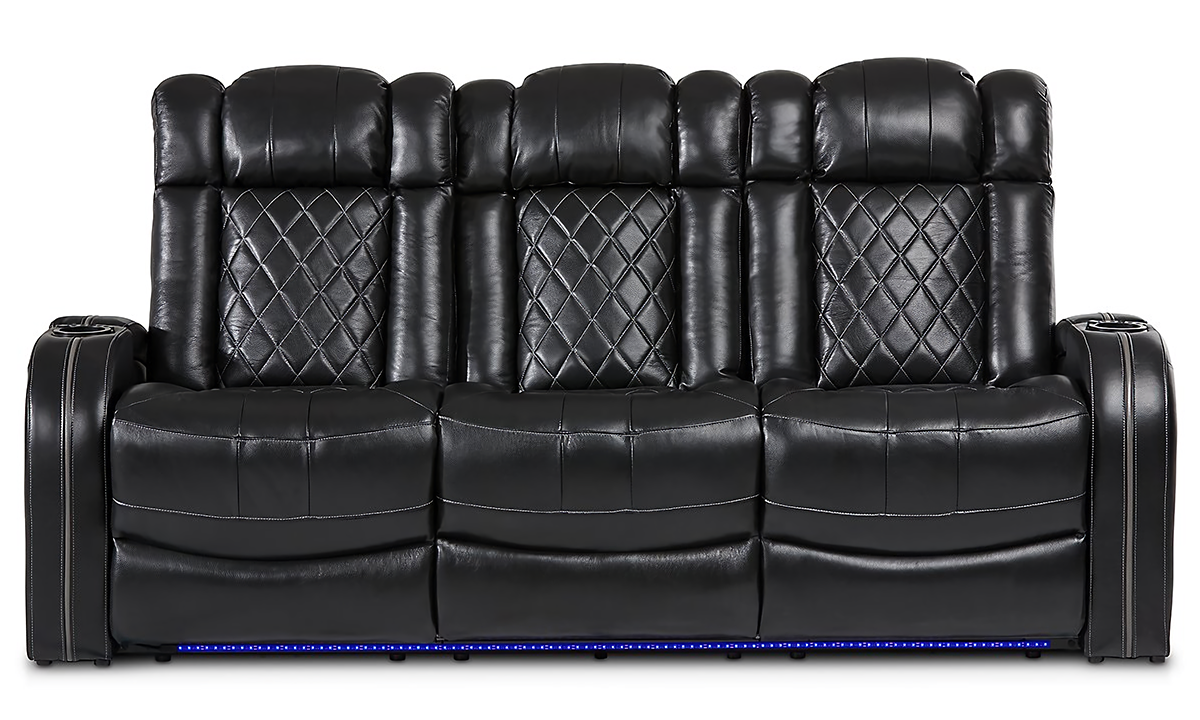 Storage theater sofa with dual power recliners, power headrests, USB charging and LED lights in black quilted leather - Storage Closeup