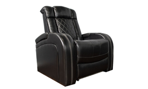 Power Theater Recliner with LED lights and storage in black top grain leather