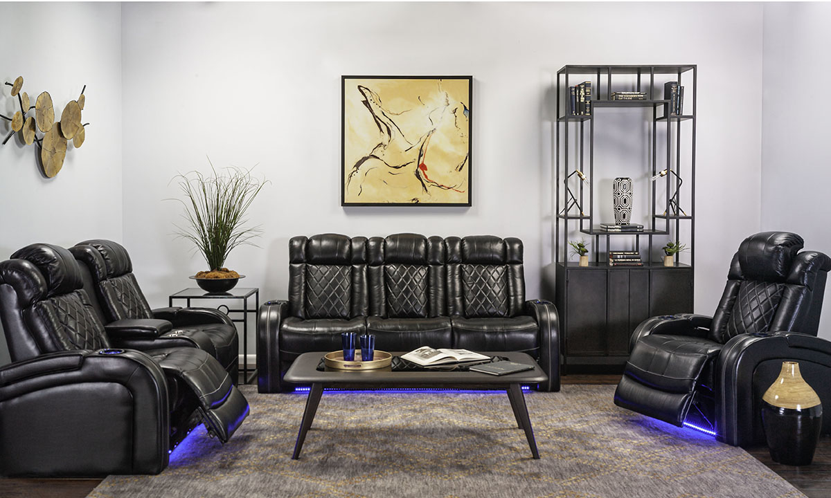 Quilted Top-Grain Leather Transformer 3-Piece Theater Set   The Dump Luxe Furniture Outlet