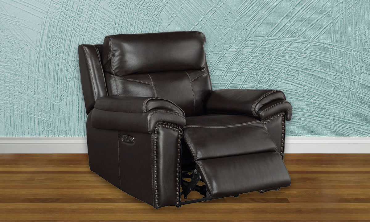 Top-Grain Leather Power Recliner with Headrest