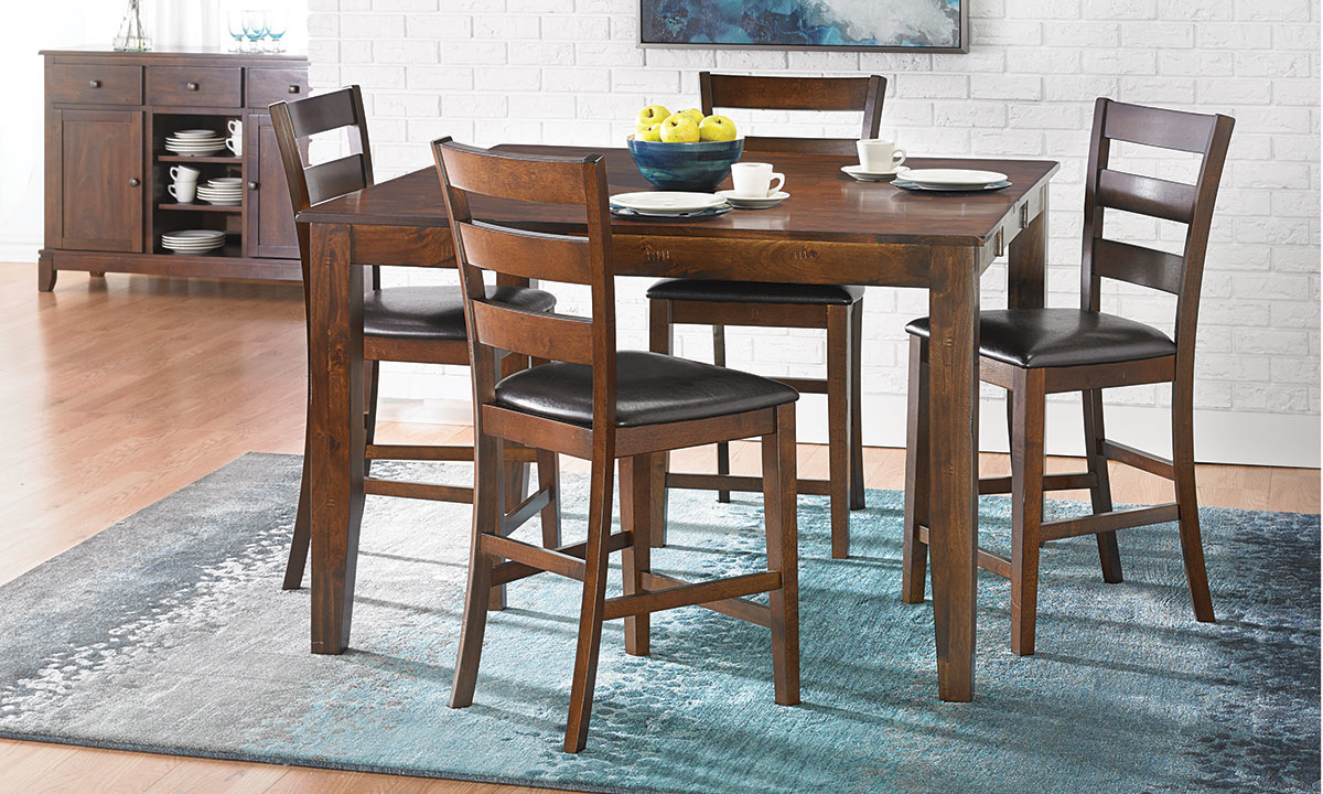 Kona Solid Mango 5-Piece Counter Height Dining Set with 54-inch extendable table with leaf and four cushioned side chairs