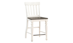 Joanna 7-Piece Farmhouse Dining Set with Counter Height Table and 6 chairs in Two-Tone Ivory and Charcoal Finish