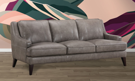 Stallion Grey Top-Grain Leather Track Arm Sofa