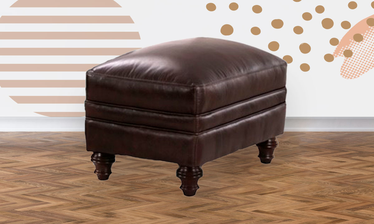 St. James Leather Ottoman
