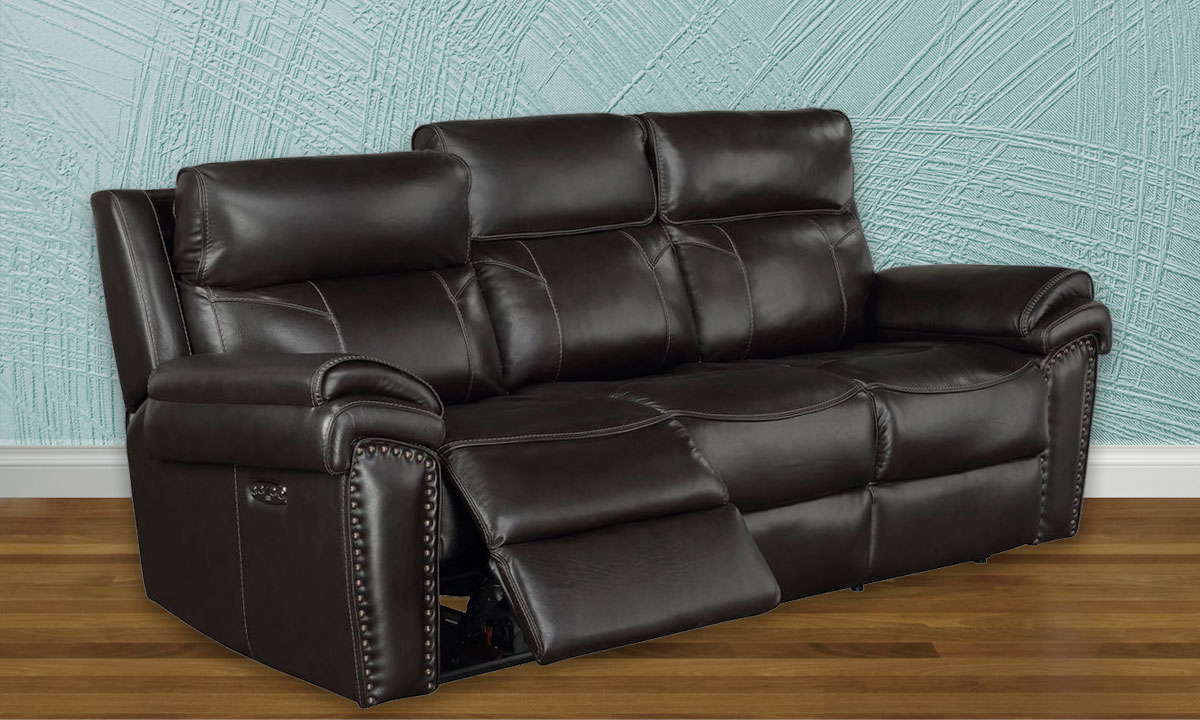- Top-Grain Leather Power Reclining Sofa With Headrests The Dump