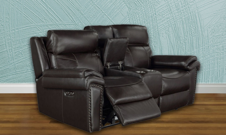 Top-Grain Leather Power Reclining Loveseat with Headrests