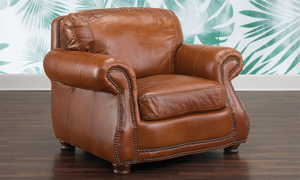 Rocky Mountain Leather Brandy Alligator Top-Grain Leather Armchair