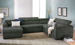 Grey fabric upholstered sectional with chaise, adjustable headrest and pop-up sleeper