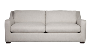 "93"" wide sofa from Carolina Custom, the Danfield couch in linen is made from recycled materials."