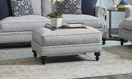 Carolina Custom Sherwood Ottoman Stone
